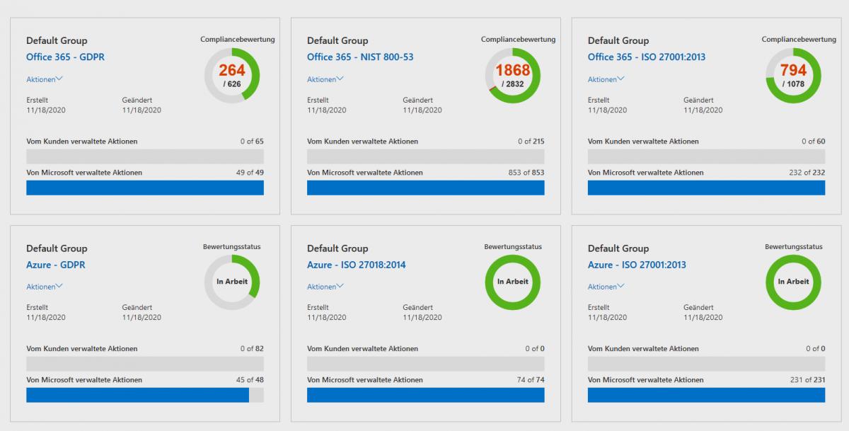 Screenshot des Microsoft 365 Compliance Center